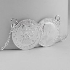 Double Coin Necklace Solid Sterling Silver Lucky Sixpence date 1918 Stunning Gift